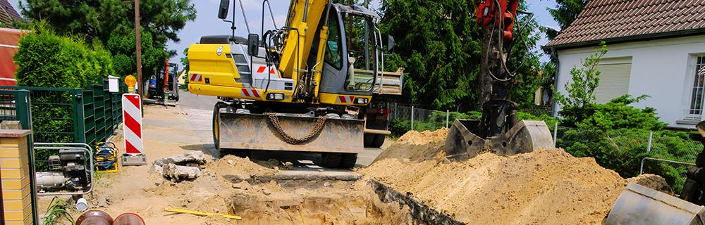 Bauunternehmen für Hausanschlüsse, Regenwasser, Schmutzwasserkanäle und Wasserleitungsbau